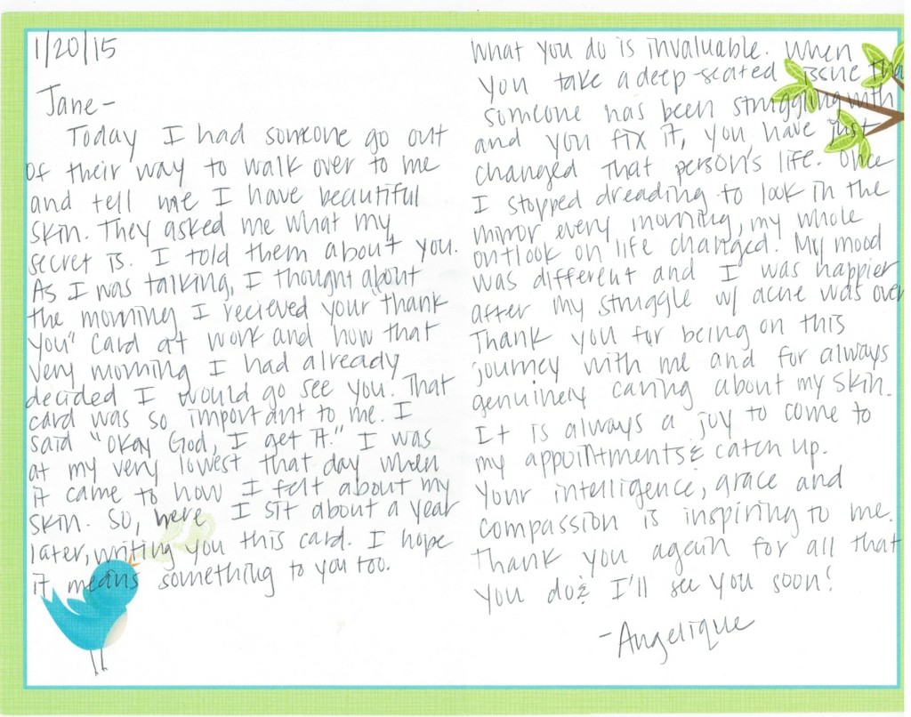 Acne-Treatment Center Thank You Card