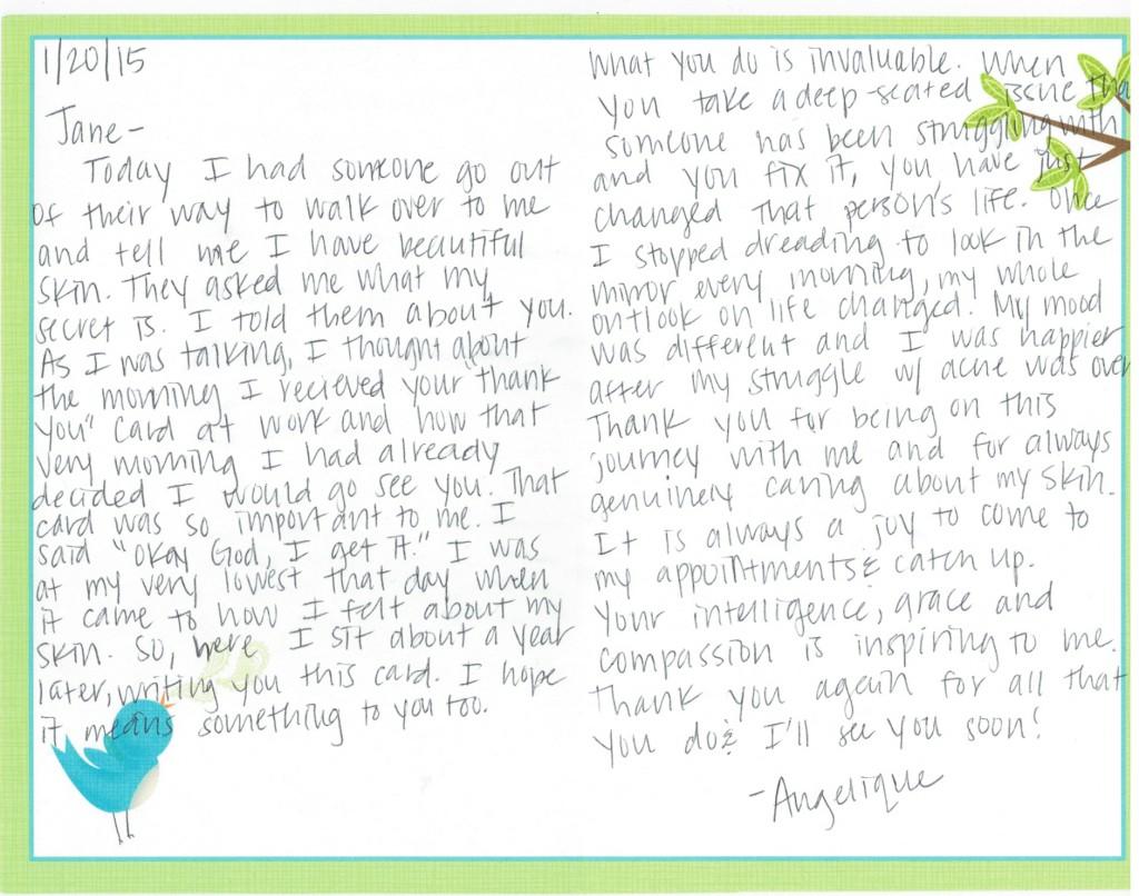 Acne-Treatment Center Thank You Card